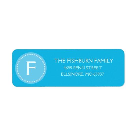 Bahama Blue Muted Monogram Custom Monogrammed Return Address Label