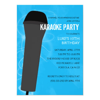 Bahama Blue Rock Out Karaoke Birthday Party Card