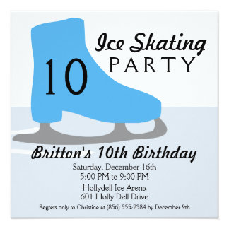Bahama Blue Skate Date Ice Skating Birthday Party 13 Cm X 13 Cm Square Invitation Card