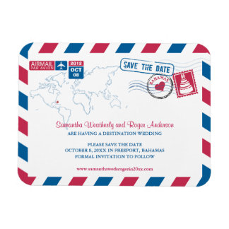 BAHAMAS Air Mail Wedding Save the Date sz 3x4 Magnet