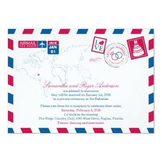 Bahamas Airmail Post Wedding Reception 13 Cm X 18 Cm Invitation Card