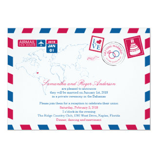 Bahamas Airmail Post Wedding Reception Card