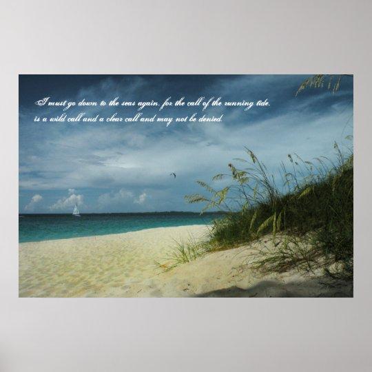 Bahamas Beach Seafarer's Poem Poster