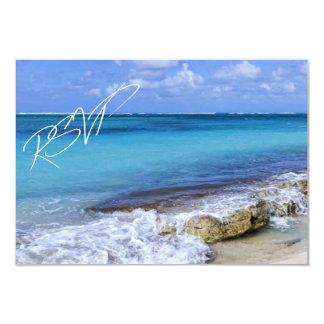 BAHAMAS BEACH SHORE Wedding RSVP 3.5x5 Paper Invitation Card