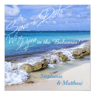 BAHAMAS BEACH SHORE Wedding Save the Date 5.25x5.25 Square Paper Invitation Card