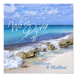 BAHAMAS BEACH SHORE Wedding Save the Date Magnetic Invitations