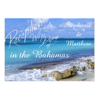 Bahamas Beach Wedding Reception Card Invitations