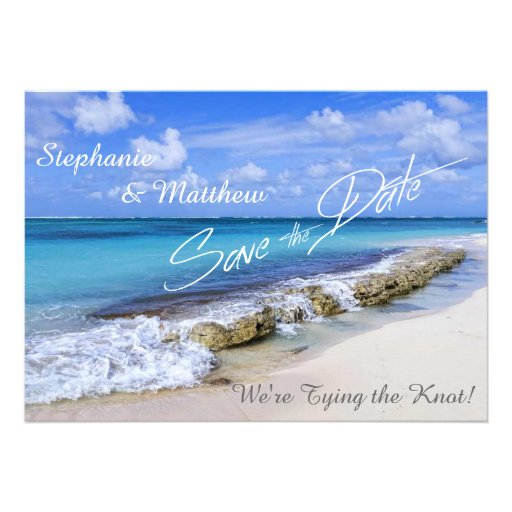 Bahamas Beach Wedding Save the Date Personalized Invitation