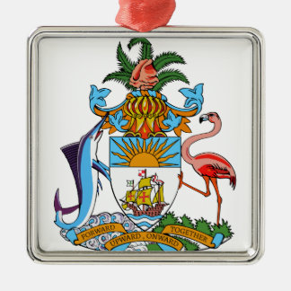 Bahamas Coat of Arms Silver-Colored Square Decoration