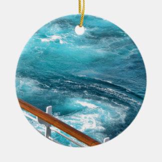 Bahamas Cruise - Turquoise Wake Round Ceramic Decoration