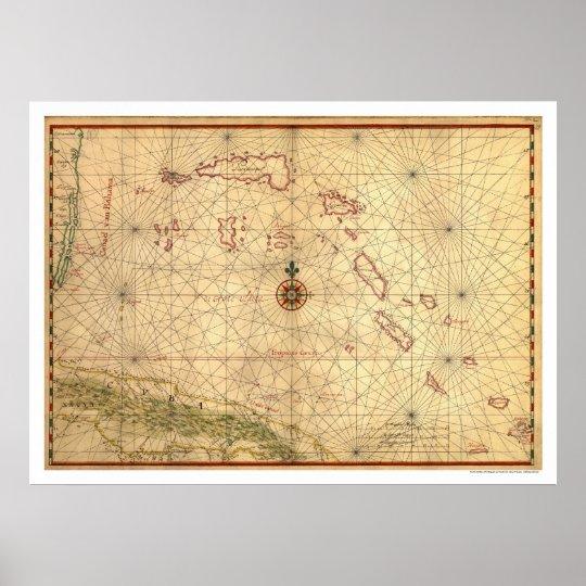 Bahamas & Cuba Map 1650 Poster