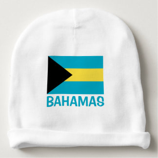 Bahamas Flag Customizable Blue Text Baby Beanie