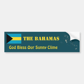 Bahamas Flag + Map Bumper Sticker