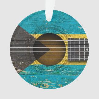 Bahamas Flag on Old Acoustic Guitar