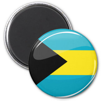 Bahamas Flag Round and Glossy Magnet