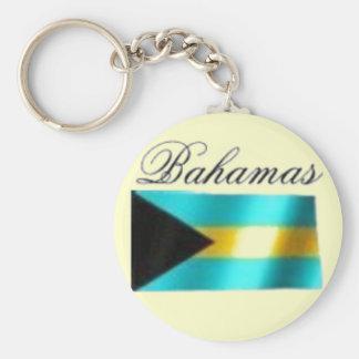 Bahamas Flag T-shirt And Etc Basic Round Button Key Ring