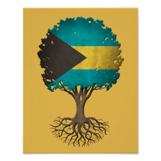Bahamas Flag Tree of Life Customizable Print
