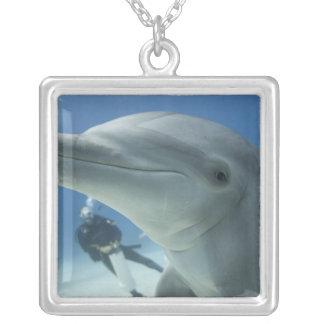 Bahamas, Grand Bahama Island, Freeport, Scuba 2 Silver Plated Necklace
