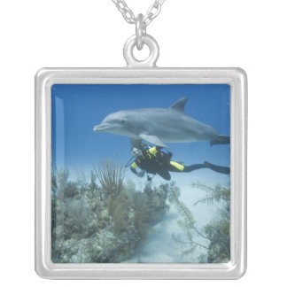 Bahamas, Grand Bahama Island, Freeport, Scuba Silver Plated Necklace