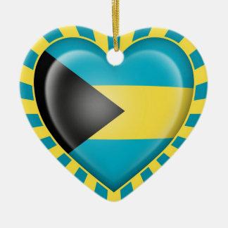 Bahamas Heart Flag with Sun Rays Ceramic Heart Decoration