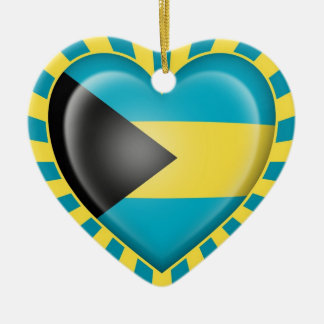 Bahamas Heart Flag with Sun Rays Christmas Ornament