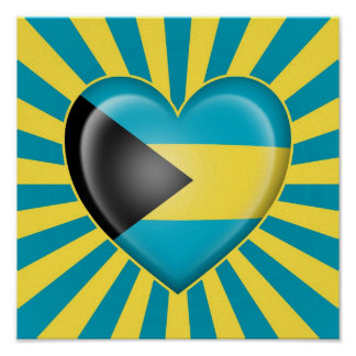 Bahamas Heart Flag with Sun Rays Posters