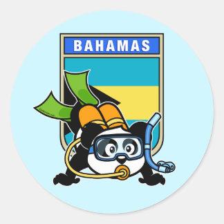 Bahamas Scuba Panda Round Sticker