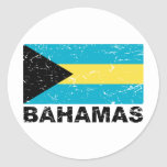 Bahamas Vintage Flag Round Stickers