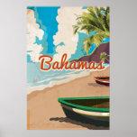 Bahamas vintage travel poster