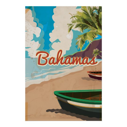 Bahamas vintage travel poster