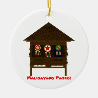 Bahay Kubo ornamnent Round Ceramic Decoration