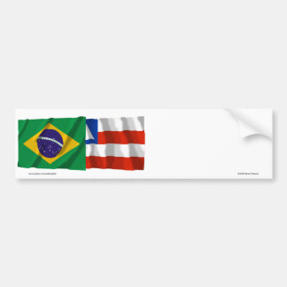 Bahia & Brazil Waving Flags Bumper Sticker