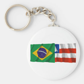 Bahia & Brazil Waving Flags Key Ring
