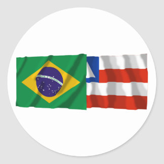 Bahia & Brazil Waving Flags Round Sticker