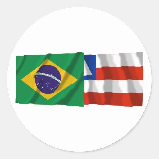 Bahia & Brazil Waving Flags Sticker