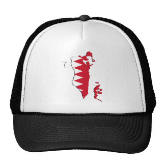 Bahrain Flag map BH Cap