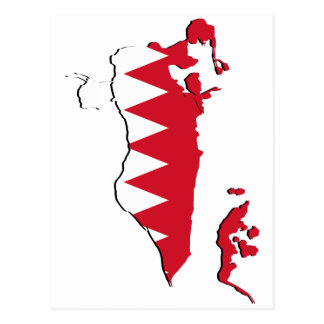 Bahrain Flag map BH Postcard