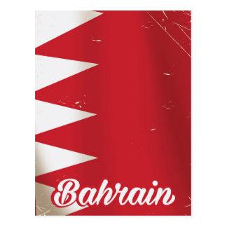 Bahrain flag vintage travel poster postcard