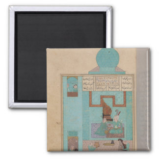 Bahram Visits a Princess in the Turquoise Square Magnet
