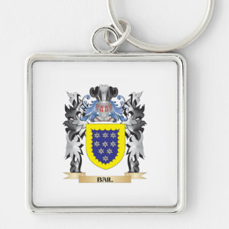Bail Coat of Arms - Family Crest Silver-Colored Square Key Ring