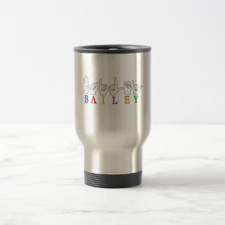 BAILEY ASL FINGERSPELLED NAME SIGN TRAVEL MUG