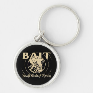 BAIT For All Kinds of Fishing Silver-Colored Round Key Ring