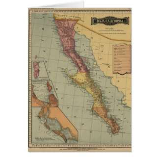 Baja California Antique Map Card