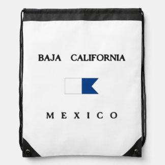 Baja California Mexico Alpha Dive Flag Drawstring Backpacks