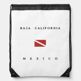 Baja California Mexico Scuba Dive Flag Drawstring Backpacks