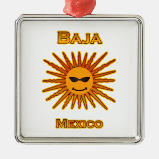 Baja Mexico Sun Face Icon Christmas Ornament