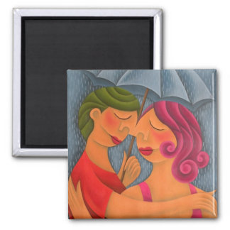 Bajo la lluvia pintura óleo arte square magnet