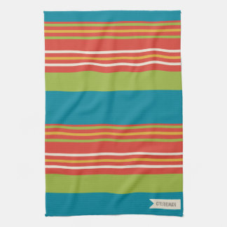Bake a Cherry Pie on teal stripes 1 Hand Towel
