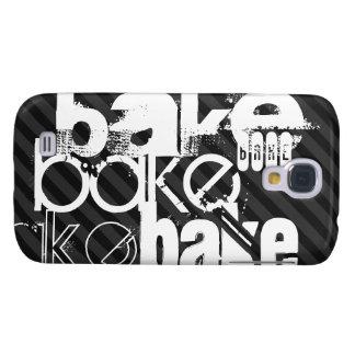 Bake; Black & Dark Gray Stripes Galaxy S4 Case