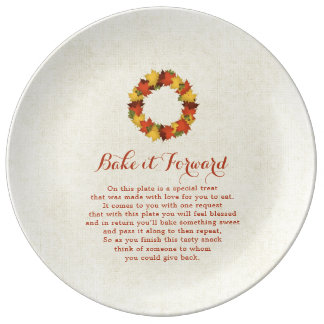 Bake it Forward Autumn Leaves Thanksgiving Wreath Plate